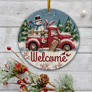Christmas Red Truck Wooden Ornament