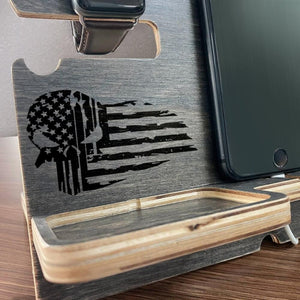 Personalized Wooden Docking Station, Awesome Gifts for Veterans, Patriots + Keychain & Coaster