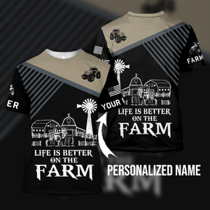 Life is better on the farm 3D Personalized Sweatshirt,Hoodie - Customer's Product with price 29.99