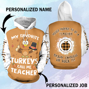 Thanksgiving teacher 3D Hoodie personalized name and job-aahn30102001 - Customer's Product with price 45.99