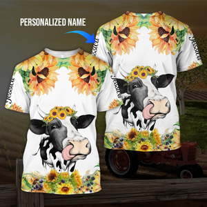 Sunflower cow 3D personalized name hoodie aanh02112001 - Customer's Product with price 29.99
