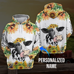 Sunflower cow 3D personalized name hoodie aanh02112001 - Customer's Product with price 39.99