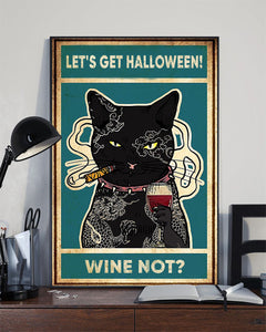 Wine Black Cat Halloween Poster bln28082003