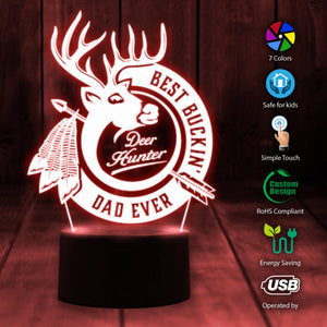 Deer Hunting Best Bucking Dad Ever 3D Seven Colors Light Led Night Lamp natr180501