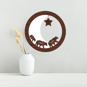 Family Bear, Moon & Star Personalised Wall Plaque