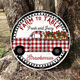 Vintage Red Plaid Strawberry Truck, Wreath Accent Decor Sign, Tiered Tray Accent Decor Sign, Instant Digital Print 1891 - wood sign round