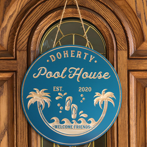 Pool Bar Sign, Beach Bar Sign! Personalized Pool Sign, Carved Wood Signs, Palm Tree Sign, Pool Decor, Bar Signs, Flip Flop Sign, Pool Gift