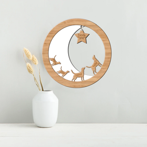Dog, Moon & Star Family Plaque, Gift for dog lovers with up to 8 personalised names Regular