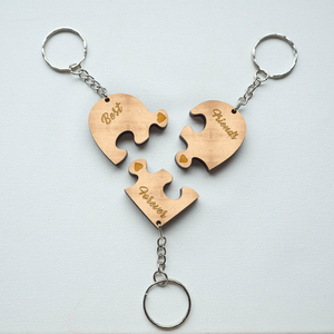 Best Friend Key Chain Set-Set of 3 puzzle piece keychains-Personalized Gift-Custom Keyring-Best Friend Gift-Xmas Gift-Gift Idea