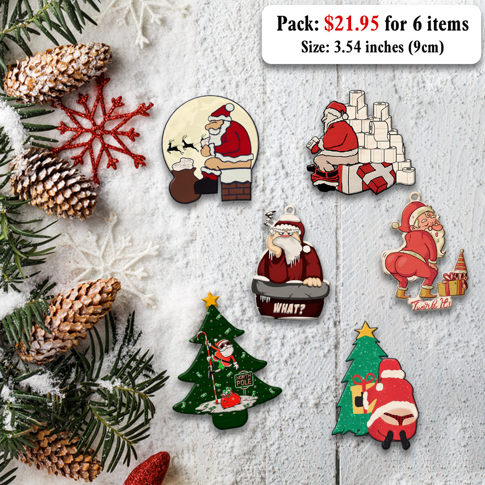 Funny Christmas Wooden Ornaments