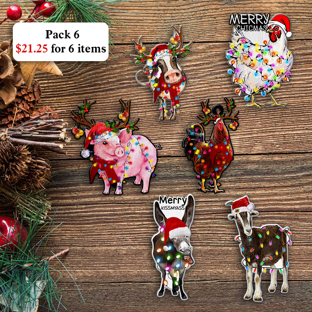 Christmas Animal Farm Wooden Ornaments