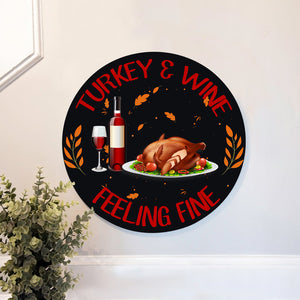 Turkey & Wine Sign for Home Decor