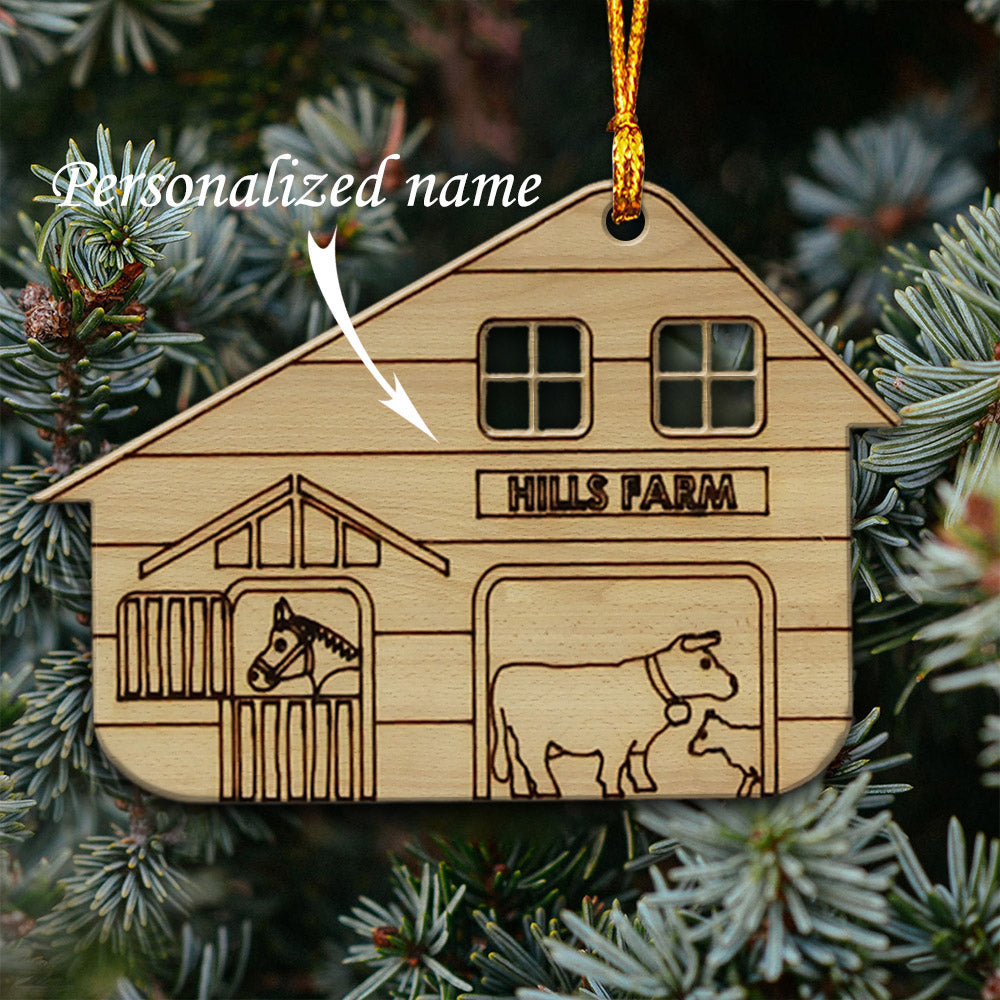 Farm House Personalised Wooden Ornaments