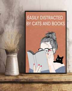Easily distracted by Cats and Books Matte Poster