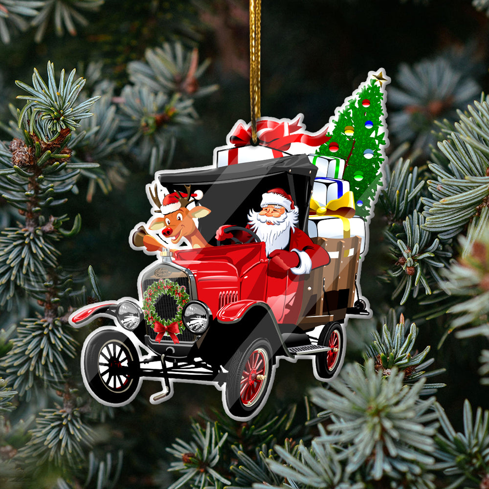 Tractor Christmas Mica Ornaments