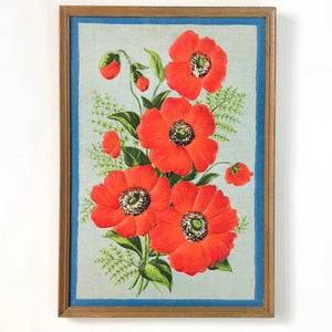 Vintage framed poppies fabric