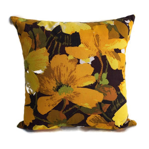 Retro yellow and brown floral cushion cover
