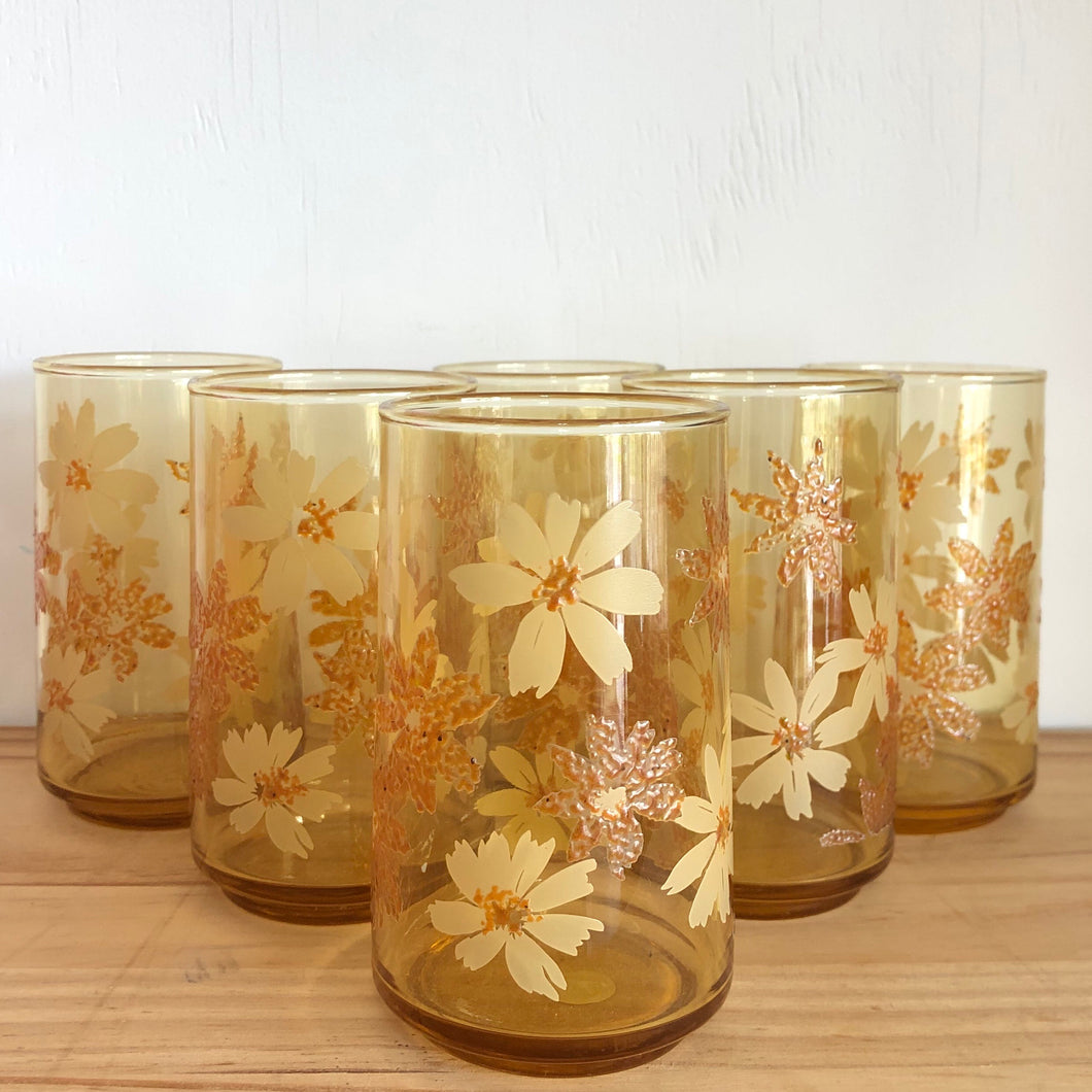 Set of 6 amber vintage glasses