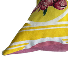 Yellow vintage floral tea towel cushion cover