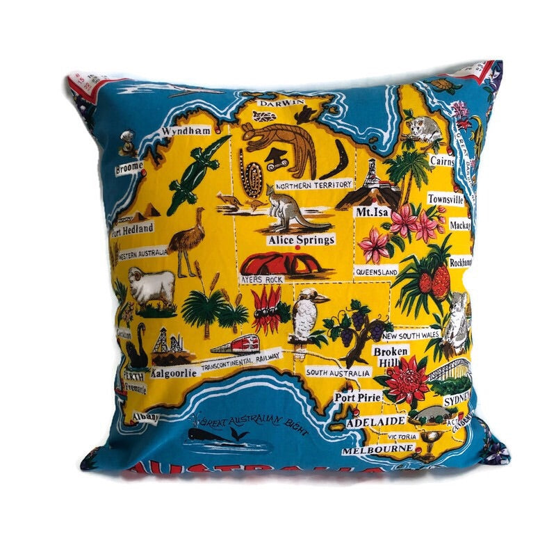Australian souvenir tea towel cushion cover