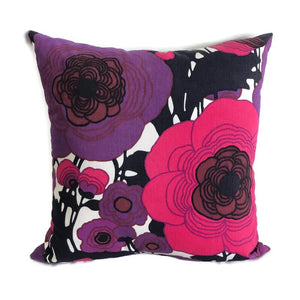 Retro pink purple and black cushion cover