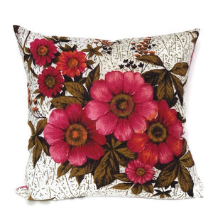 Pink Floral vintage tea towel cushion cover