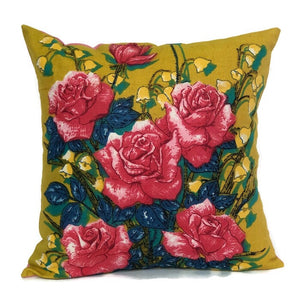 Rambling Rose pink vintage tea towel cushion cover