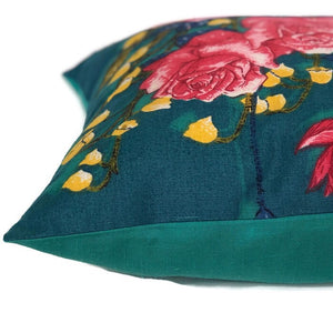 Rambling Roses teal vintage tea towel cushion cover