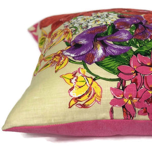 Orchid vintage tea towel cushion cover