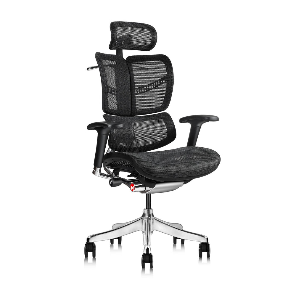 MOOJIRS Ergonomic Office Chair with Headrest Adj and Tilt Limiter|Backrest Height Adj|Seat Depth Adj|3-Dimensional Dynamic Backrest and Lumbar Support|Aluminum Frame/Base with Standard Carpet Casters