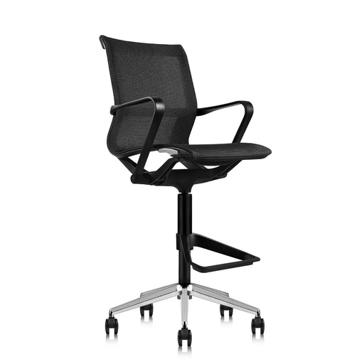 Ergonomic Drafting Chair | with Sports Spine and Foot Carrier | Breathable Mesh Fabric | Black Nylon Frame with Standard Carpet Casters