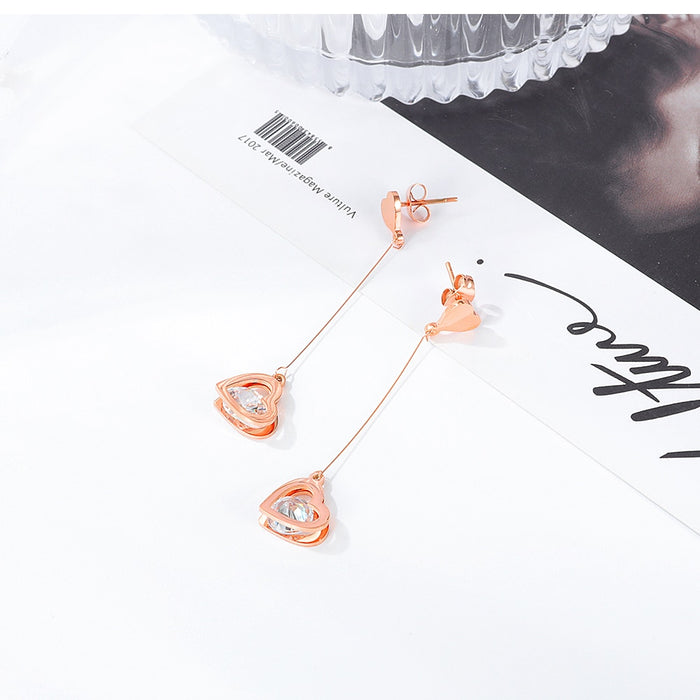Drop Earrings for Women Rose Gold Crystal Love Heart Pendant Korean Charm Fashion Jewelry For Girls