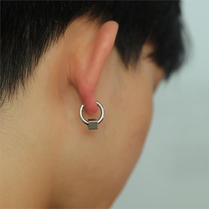 Men Stud Earrings Simple Geometric Stainless Steel Korean Charm Fashion Jewelry
