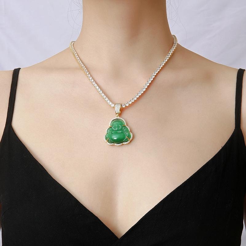 Jade Buddha Pendant Necklace with Tennis Chain