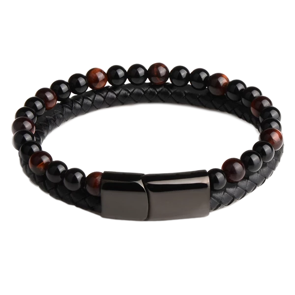 Beaded Natural Stone Bracelet for Men