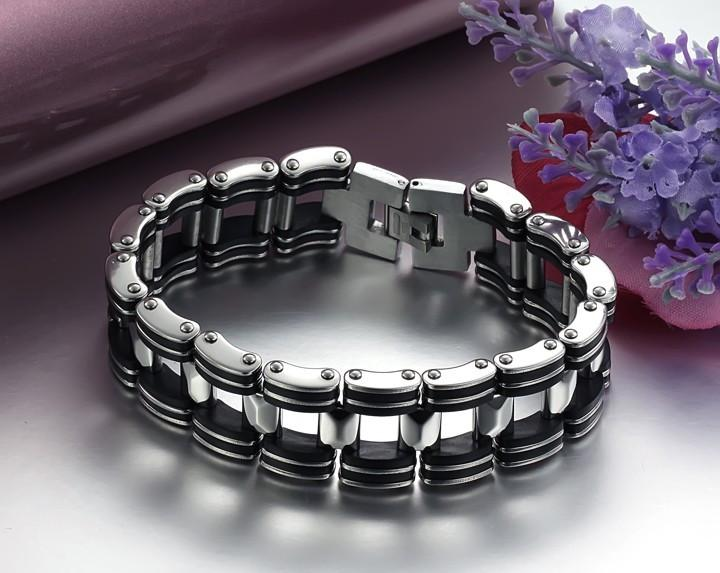 Black Strip Stainless Steel Bracelet - Florence Scovel - 4