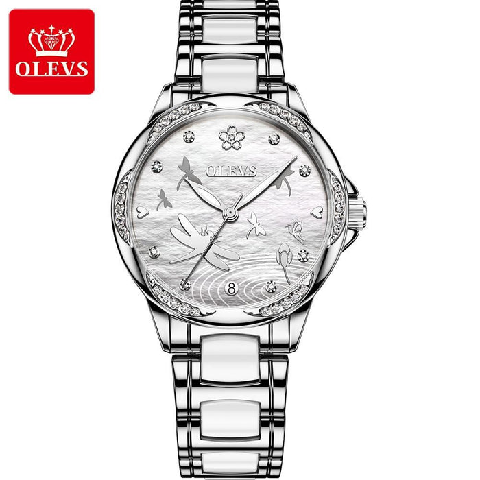 Automatic Mechanical Watch Ceramic Steel Band Waterproof Ladies Dragonfly Watch