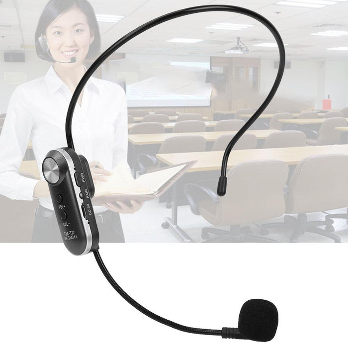 Wireless FM Audio Mic Set Rechargeable Headset Handheld Microphone for Voice Amplifier