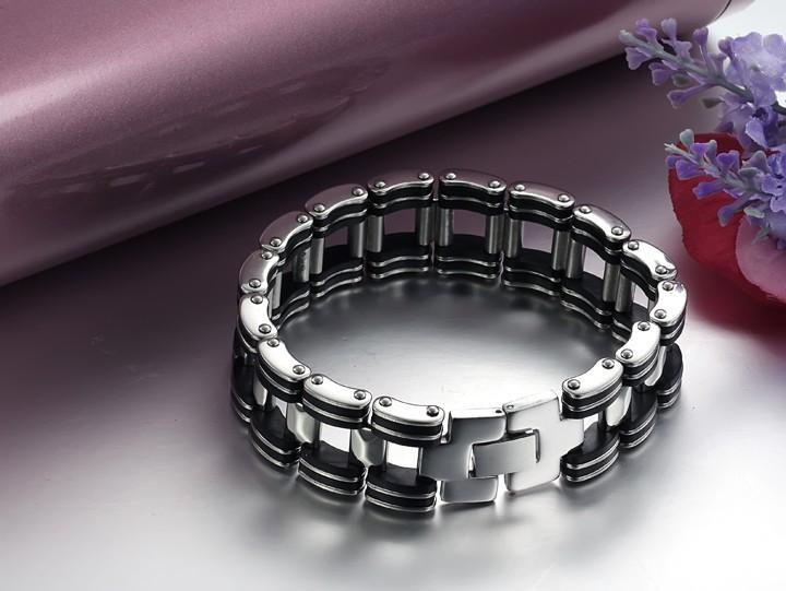 Black Strip Stainless Steel Bracelet - Florence Scovel - 6