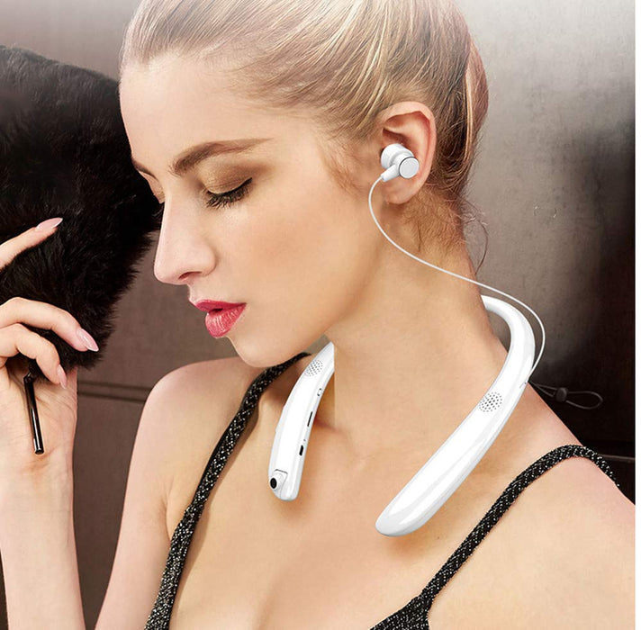 Wireless Bluetooth Stereo Earphone Neck-hanging Headphone  with external speaker