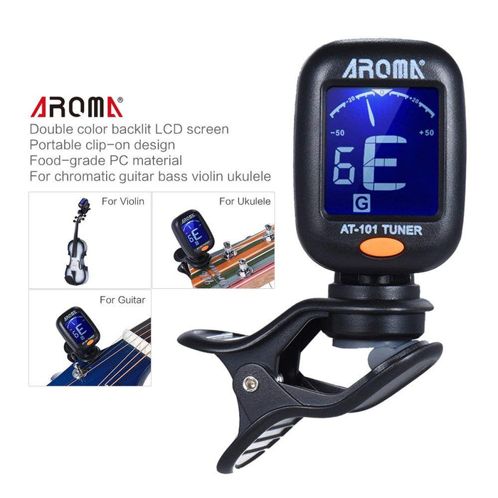 AROMA AT-101 Portable Clip-on Guitar Tuner