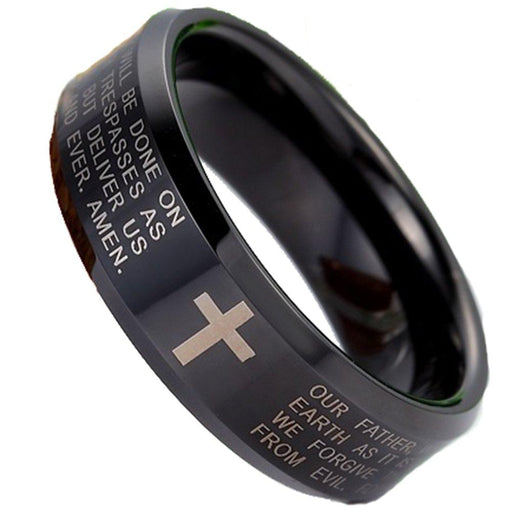 Men Women 8mm Tungsten Carbide Black Ring Engraved English Bible Lords Prayer Cross Band Ring For Her Him - InnovatoDesign