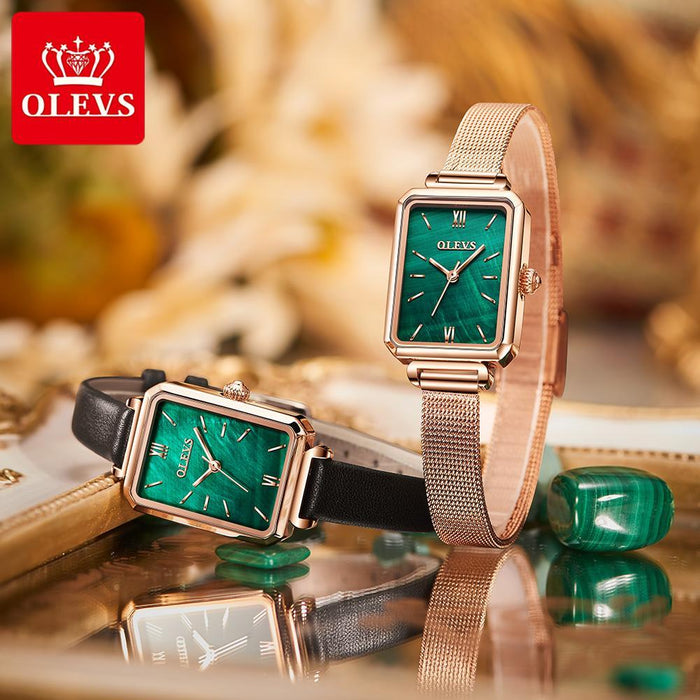Retro Small Green Watch Square Quartz Watch Waterproof Ladies Watch Female