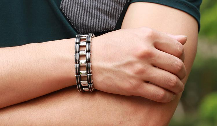 Black Strip Stainless Steel Bracelet - Florence Scovel - 9
