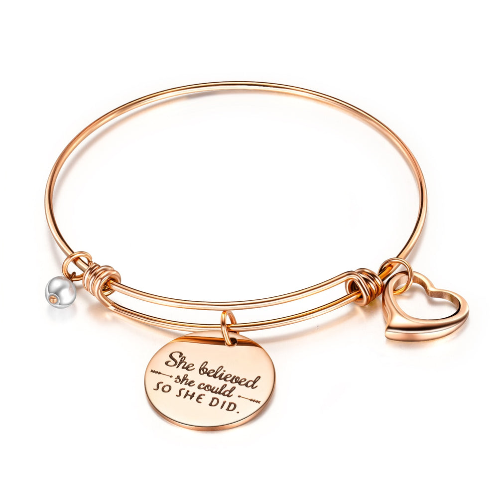 Class  Graduation Gift Cap Inspirational Bangle Expandable Bracelet Jewelry for Women She Believed She Could So She Did