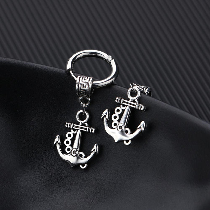 Titanium steel personality anchor men's stud earrings vintage earrings