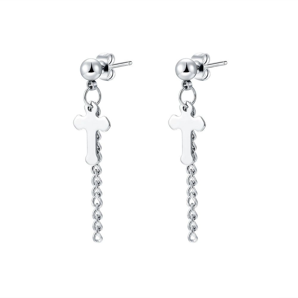 Women's titanium steel cross earrings Fashion all-match trendy earrings