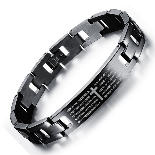Bible Lord's Prayer bracelet Titanium steel cross men's bracelet