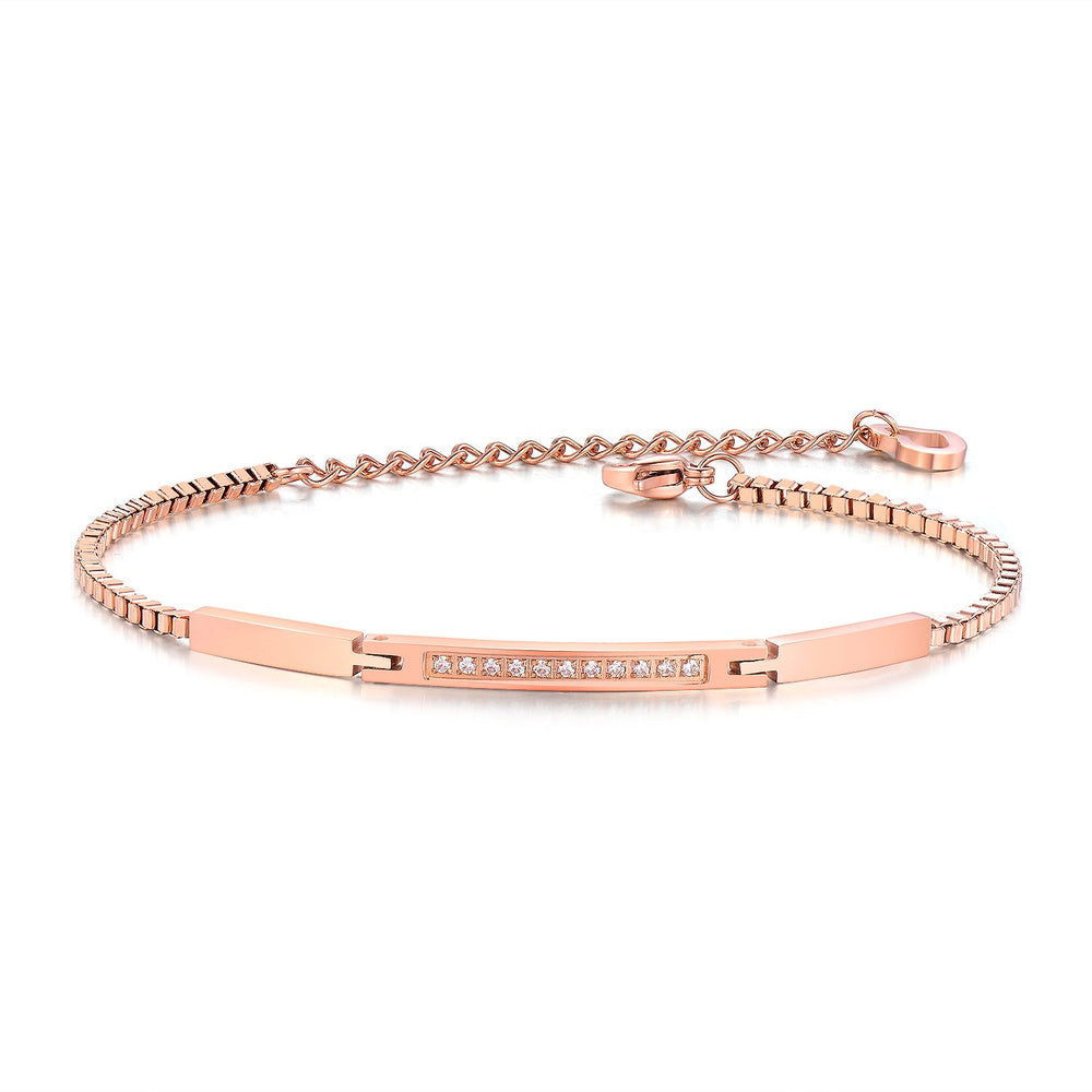Micro inlaid 3A zircon bracelet girl rose gold plated chain