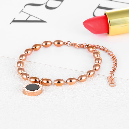 Fashion Titanium Steel Roman Numerals Plated Rose Gold Bracelet Black and White Two-sided Ladies Bracelet